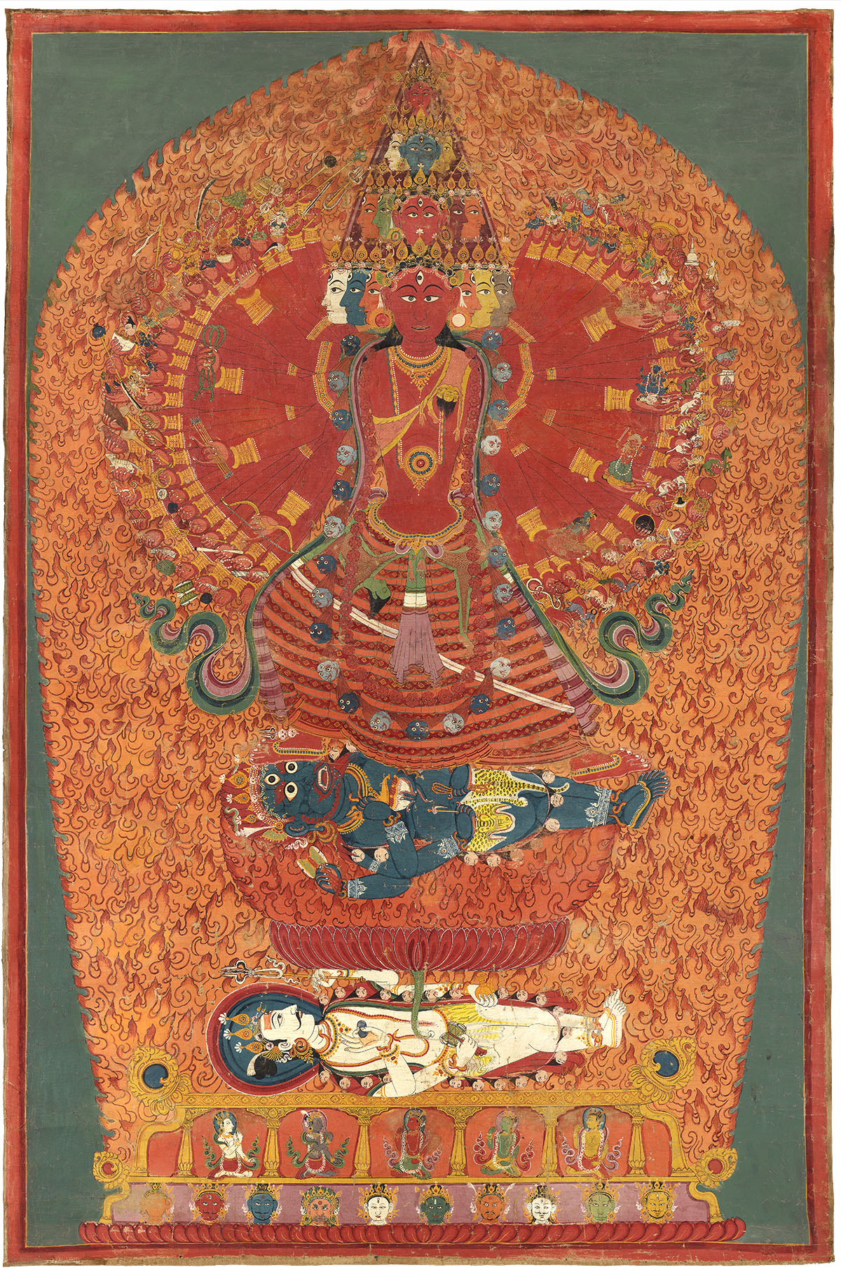 The Cosmic Goddess Bhavani Attributed to Bhajuman Chitrakar Nepal, mid 19th century Opaque pigments on cotton 142 x 94 cm