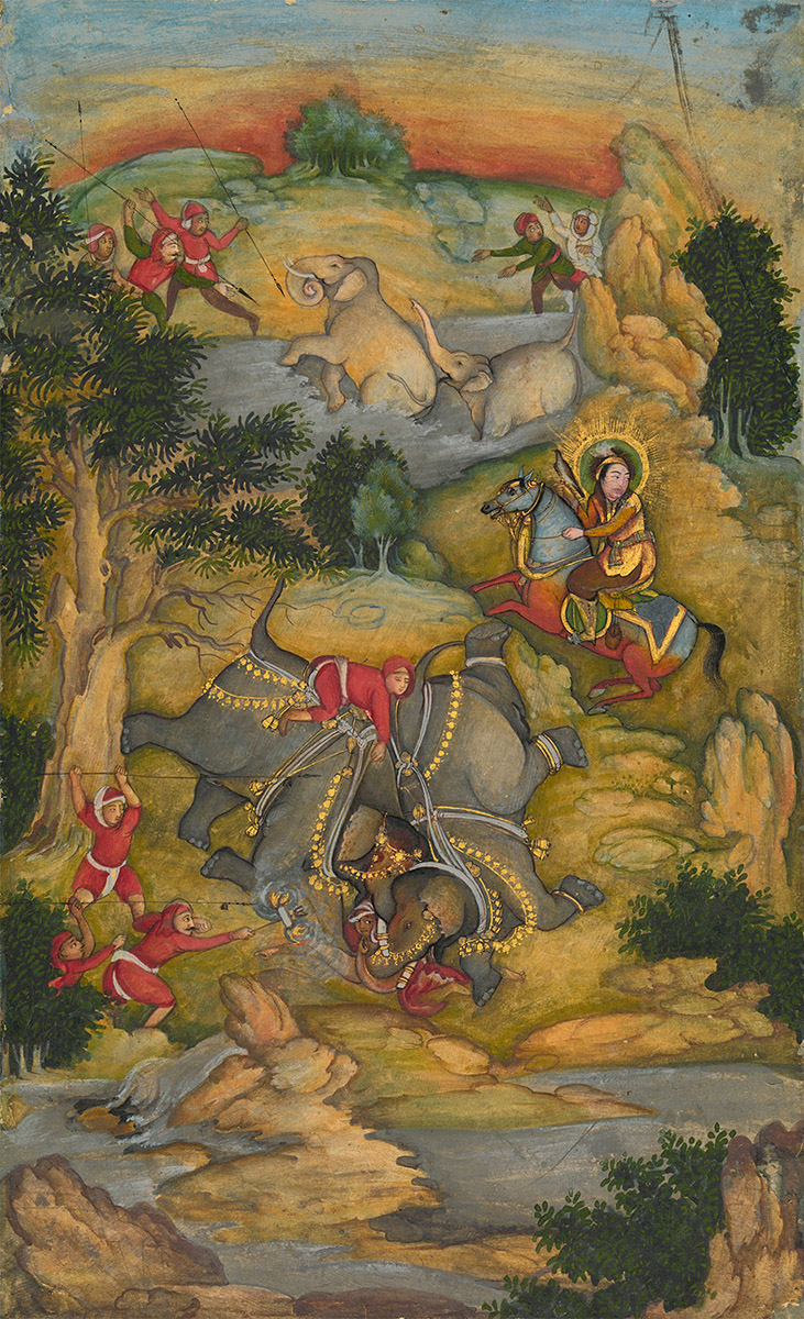 The Taming of Wild Elephants Attributed to the artist Mir Kalan Khan Lucknow, India, c. 1760 Opaque watercolour and gold on paper 21.5 x 13.2 cm